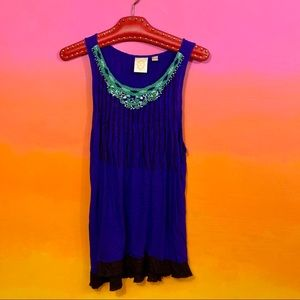 ric rac by anthro • cobalt blue green beaded top l